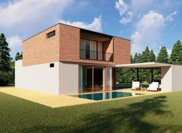 OT-180 lapos tetős házterv medence nézet